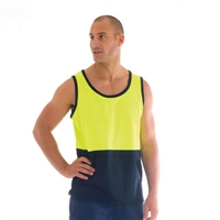 - Hivis Cotton Back Two Tone Singlet > 185 Gsm