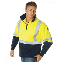 - Hivis Cross Back D/N Two Tone 1/2 Zip Fleecy Sweat Shirt
