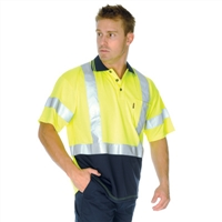 - Hivis D/N Cool Breathe Polo Shirt With Cross Back R/Tape - Short Sleeve